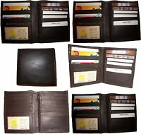 Lot of 6 Leather Hipster wallet billfold brown Bifold zip coin purse New wallets