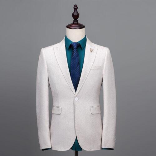 stks Fit Tuxedos Trouwpak Tweed Visgraat Heren 3 Past Bruidegom Slim Ivoor rxBCEWQode