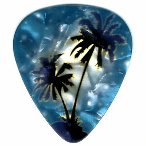 12-Pack-Bulk-Pick-PALM-TREES-Dark-Blue-Ocean-Beach-HAWAII-MAUI-Kona-Guitar-Pick