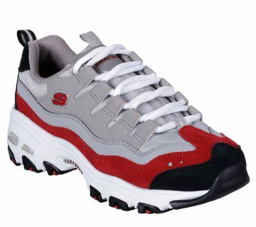 Skechers DLites Gray Rouge Chaussures Femme Sport en mousse à mémoire de Casual Comfort Soft 13141