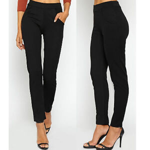 NEW-WOMENS-LADIES-ELASTICATED-STRETCH-SKINNY-POCKET-SLIM-CIGARETTE-TROUSERS