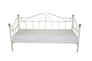 Romantische Metallbetten tagesbett creme weiß inkl lattenrost einzelbett day bed metallbett