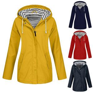 Womens Long Sleeve Hooded Wind Jacket Ladies Outdoor Waterproof Zipper Rain Coat