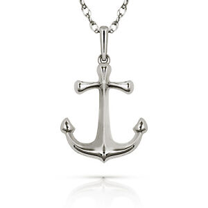 Solid 14k white gold anchor pendant charm for chain or necklace new image is loading solid 14k white gold anchor pendant charm for aloadofball Gallery