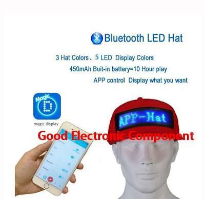 Led Display Screen Hat Cap Bluetooth Wireless App Control Lighted Glow Chapeau Ebay
