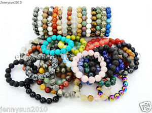 Handmade 12mm Natural Gemstone Round Beads Stretchy Bracelet Healing Reiki