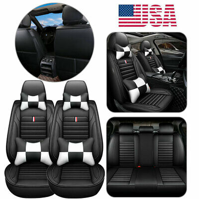 5 Sit Car Seat Cover W 4 Pillows Pu Leather Interior Protection