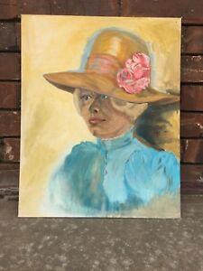 Image is loading Vtg-ORIGINAL-Painting-Canvas-Panel-Portrait-Southern-Woman- d73f1c18804