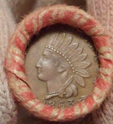 Old Civil War Token is on the end of a 50-coin Mixed Indian Wheat Cent Roll 7m