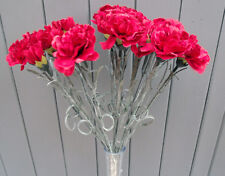 Artificial 16 Head Realistic Red Carnation Flowers Bush