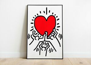 Keith Haring Heart PosterKeith Haring Art PrintModern ArtWall Decor