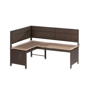 eckbank rattan 148x100cm sitzkissen gartenbank sitzbank gartenm bel balkonbank ebay. Black Bedroom Furniture Sets. Home Design Ideas