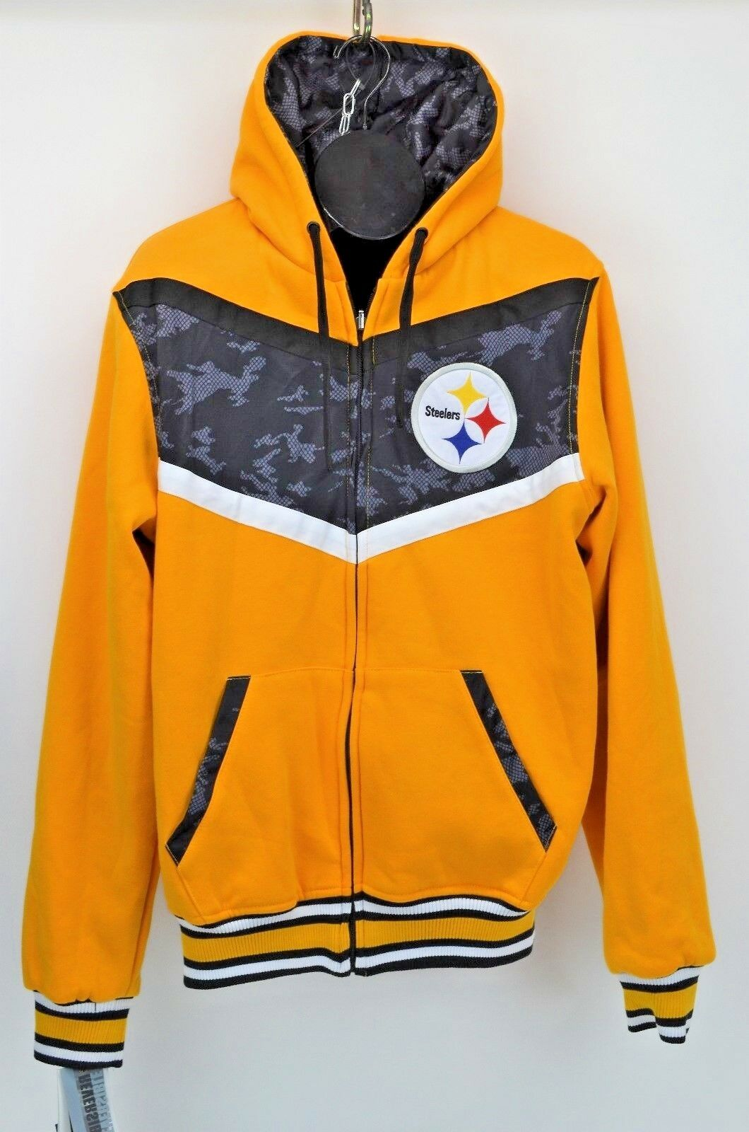 NFL Pittsburg Steelers Team Apparrel Reversible Full Zip Hoodie Coat Sz Med New
