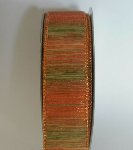 """bows per metre rustic autumnal colours Wired edge 1.5/"""" Christmas ribbon"""