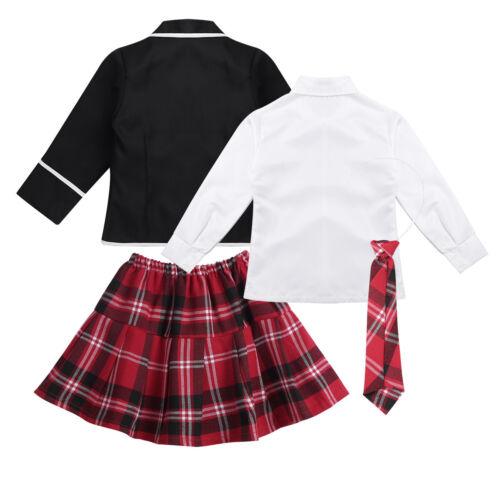 Kids Girls British Korean Japanese School Uniforms Anime Party Dress up Costume