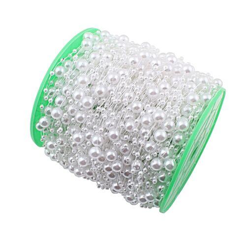 Zuchtperle Imitat Weiss 8mm Hochzeit Deko Band Perlenband Perlenschnur 1 M C341