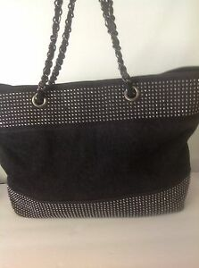 tas Prewashed Hip Denim Designer Black Tote Silver Fashion Studed Grote Noelle Nwy8vn0Om