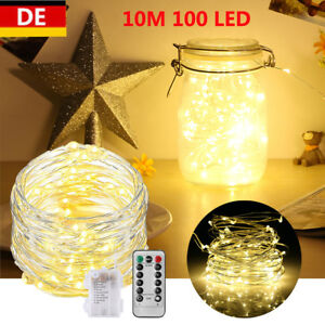 10M-100-LED-Lichterkette-Drahtlichterkette-mit-Fernbedienung-Batterie-warmweiss