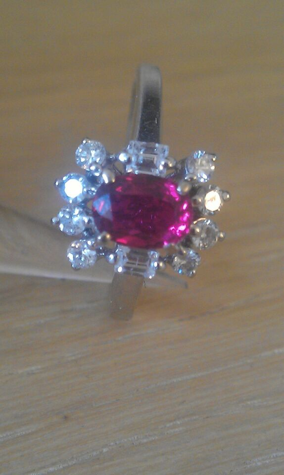 Ring, diamant, Rubin