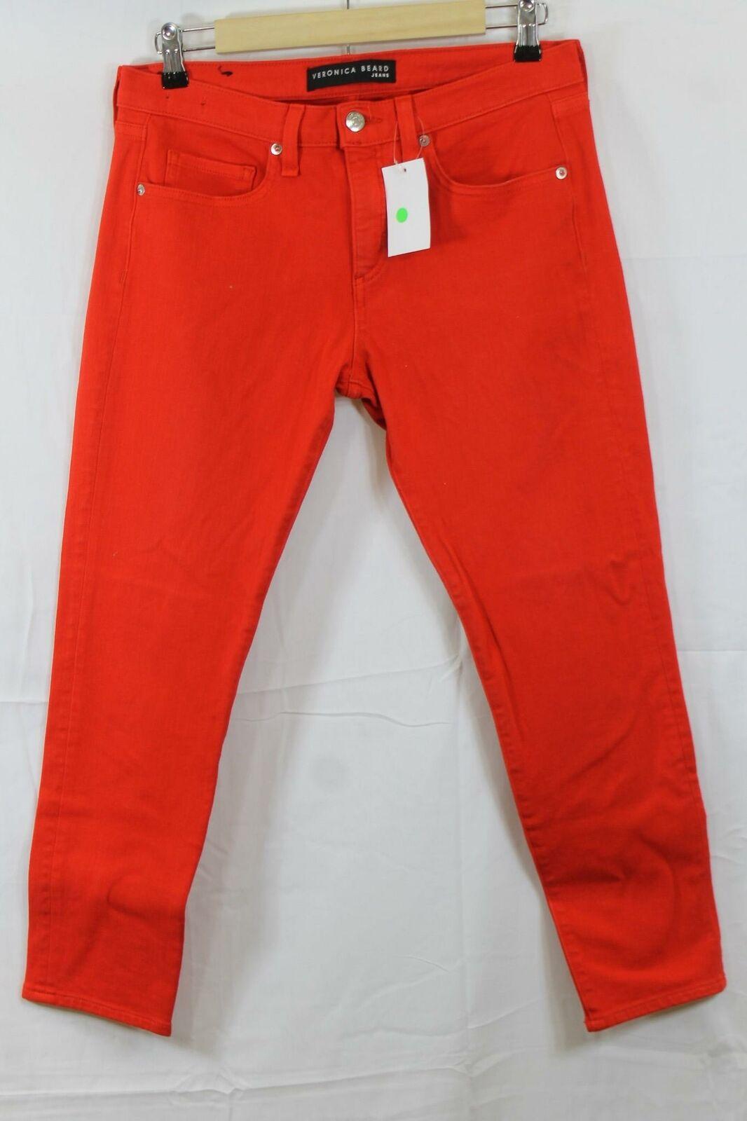 Womens Veronica Beard Brooke Red Crop Jeans Size 29 NWT