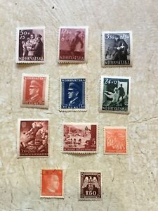 UNC-Nazi-Germany-amp-NAZI-Croatia-WW2-Third-Reich-Hitler-Swastika-Stamp-WW2-lot