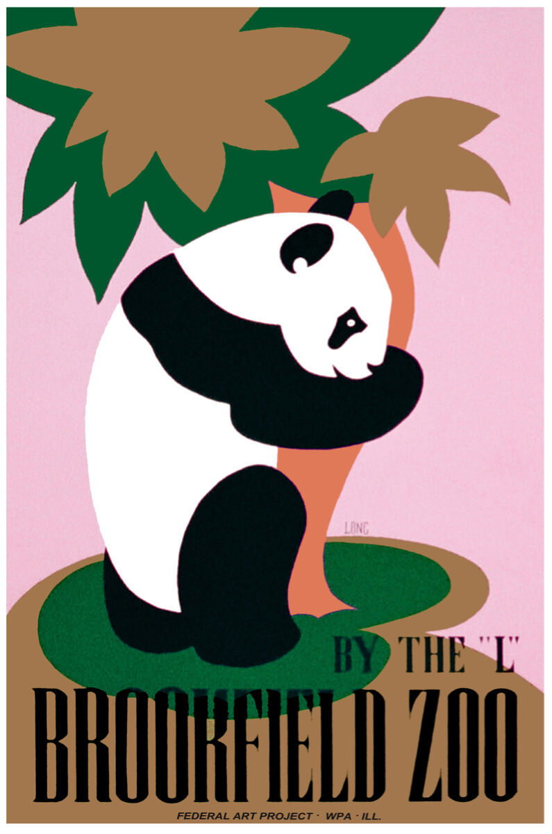 Vintage style quality art print POSTER.Panda Brookfield Zoo.Room Art Decor.715i