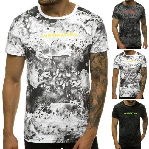 T-Shirt Rundhals Kurzarm Shirt Slim Fit Print Aufdruck Motiv OZONEE 10928 Herren