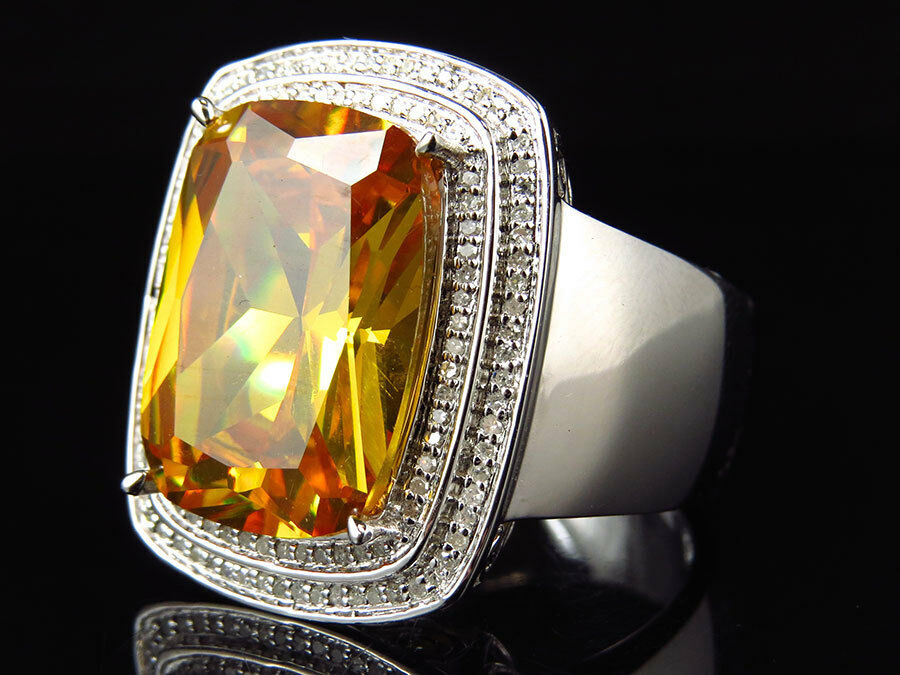 .925 White gold Finish Royal Lab Topaz Center Real Diamond Statement Ring 0.50ct