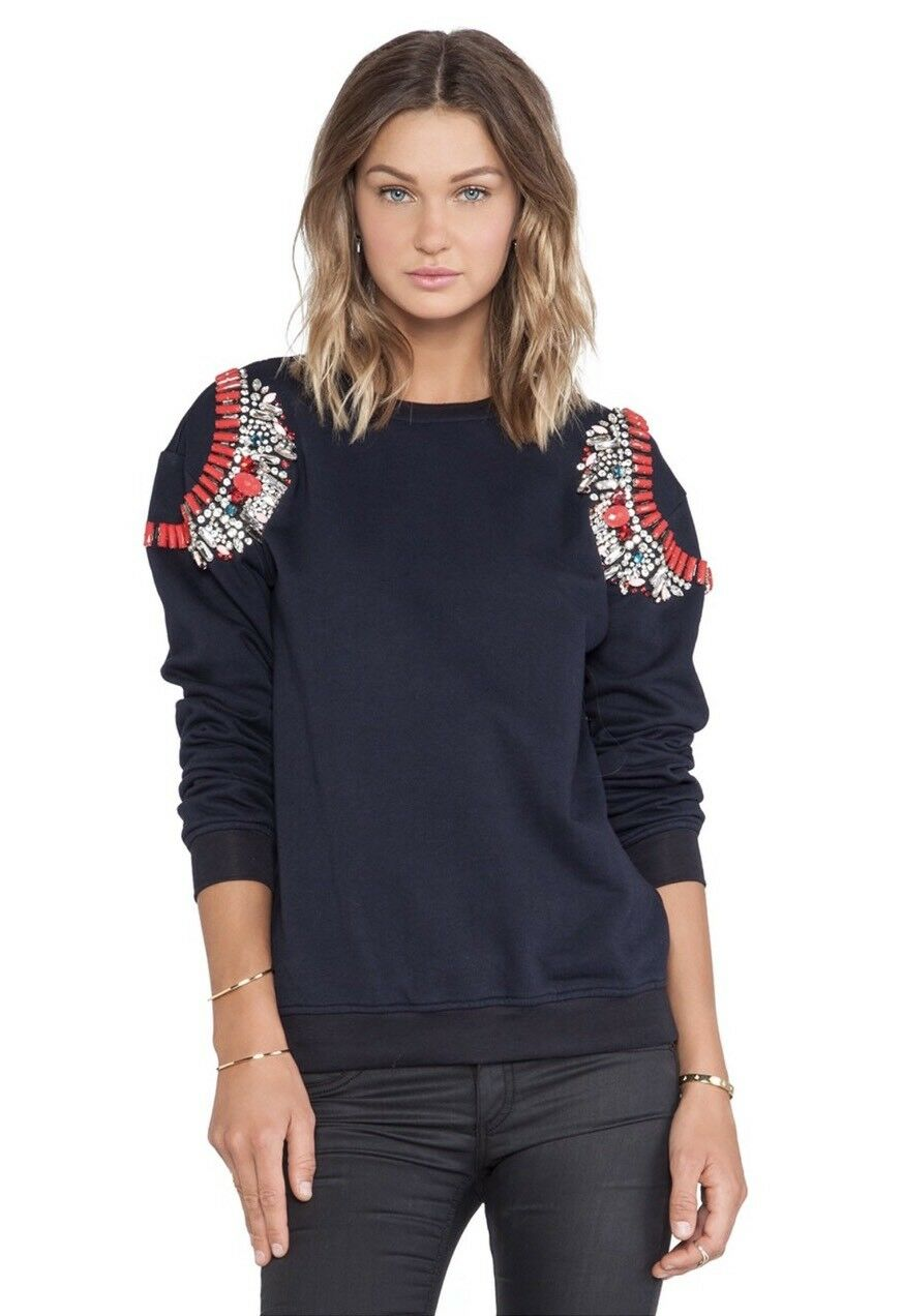 NWT ANTHROPOLOGIE Hemant & Nandita Sz S Crystal Sweatshirt Embellished NAVY