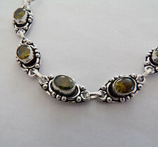 Vintage Victorian Antique Style 925 Silver Glass Bracelet