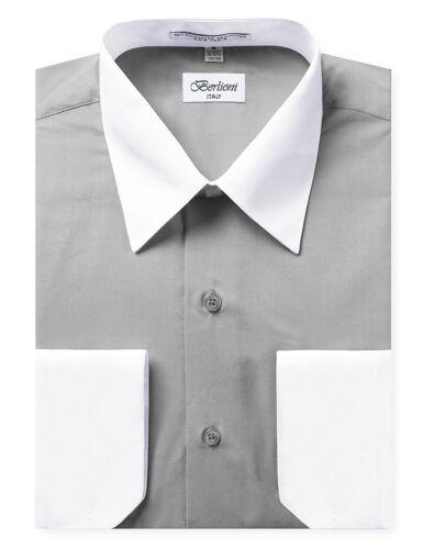 Berlioni Italy Men/'s Premium Classic White Collar /& Cuffs Two Tone Dress Shirt