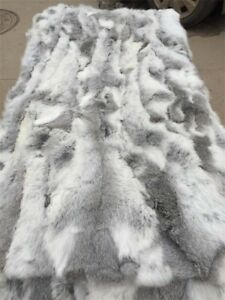Real-Rabbit-FUR-Throw-Blanket-Patchwork-Skin-Fur-Rug-42-034-x-22-034-Pelz-Leather-Pelt