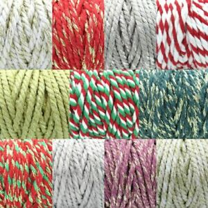 5mm CHUNKY BAKERS TWINE Craft Gift Wrap Rope Ribbon Thick Coloured String