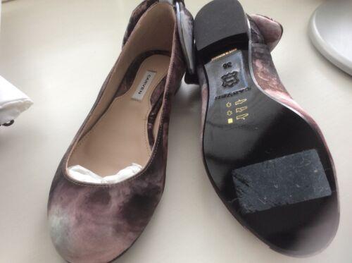 Rose Carven De Taille Nouveau Dusky Boîte Uk et Bow Flats Ballerina Shoes Avec Bleu rSqIr