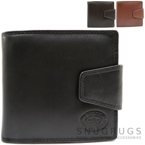 Mens Genuine Leather Bi-Fold Wallet with Popper Closure