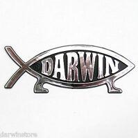 DARWIN FISH (on legs) CAR EMBLEM BADGE symbol plaque