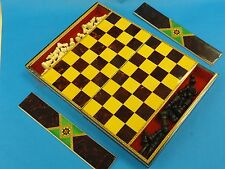 FABULOUS VINTAGE WOOD CARVED CHESS SET +EXOTIC WOOD INLAY BOX & WOOD BOARD