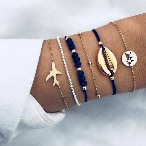 der Frauen Mode Einstellbare Bangle Crystal Beads Stones World Map Armband Sets