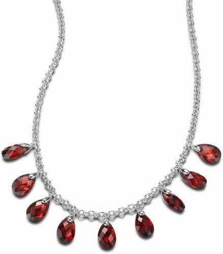 + 2 in Red CZ Necklace AUTUMN SUNRISE Sterling Silver 16 in ELLE Jewelry
