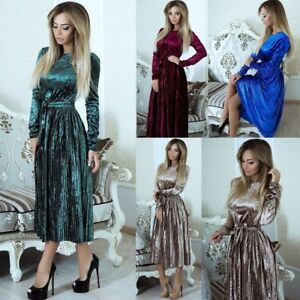 UK-Womens-Ladies-Winter-Crushed-Velvet-Evening-Pleated-Party-Long-Sleeve-Dress