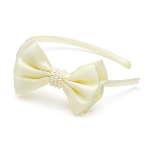 New Cream or White Satin /& Pearl Bow Headband Alice band Hair Band
