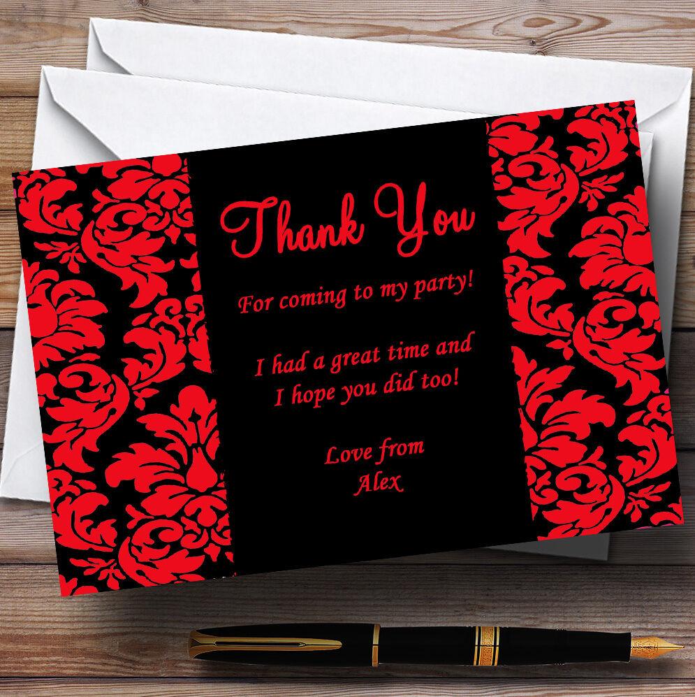 Floral cartes noir et rouge damassé personnalisé partie cartes Floral remercieHommes t ba3e5f