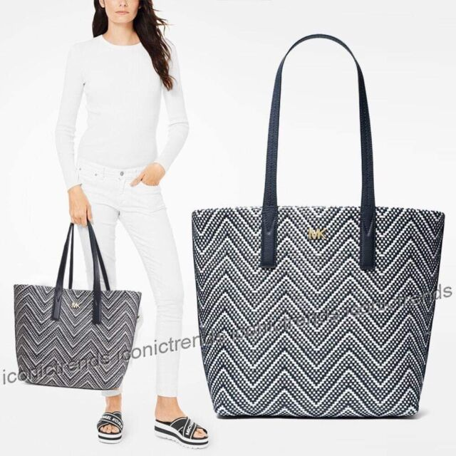 Michael Kors Junie Admiral Woven Leather Large Tote Purse 30H8BX5T3U
