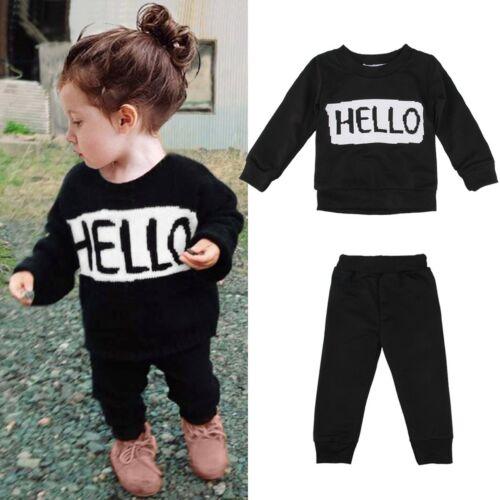 Enfant Bébé Garçon girlclothes tenues Sweat T-shirt Tops Pantalon 2pcs Set