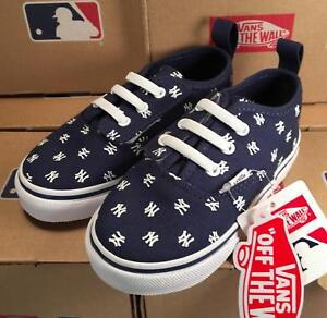 4b49656e62ce Vans New York Yankees MLB Toddler V Lace Authentic Sneakers Laced ...