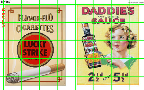 NH150 1//2 Set N SCALE LG WALL ADVERTISING SIGNAGE LUCKY STRIKE DADDIE/'S SAUCE