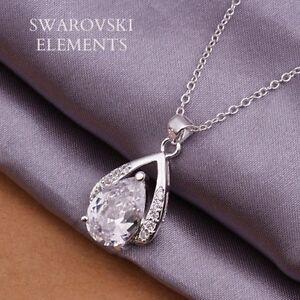 Détails sur collier pendentif goutte d'eau argent 925 swarovski® Elements  TRANSPARENT LUXE