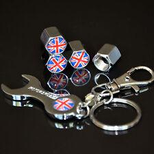 Car British Flag Wheel Tire Valves Air Cap Cover Stem Wrench Key Chain For BMW