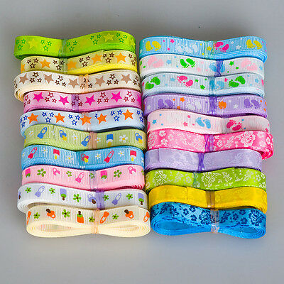 """20YDS mixed 20 style 3/8"""" 9mm star flower foot printed satin grosgrain ribbon"""