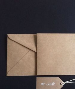 100 envelopes kraft craft recycled brown160mm square quality